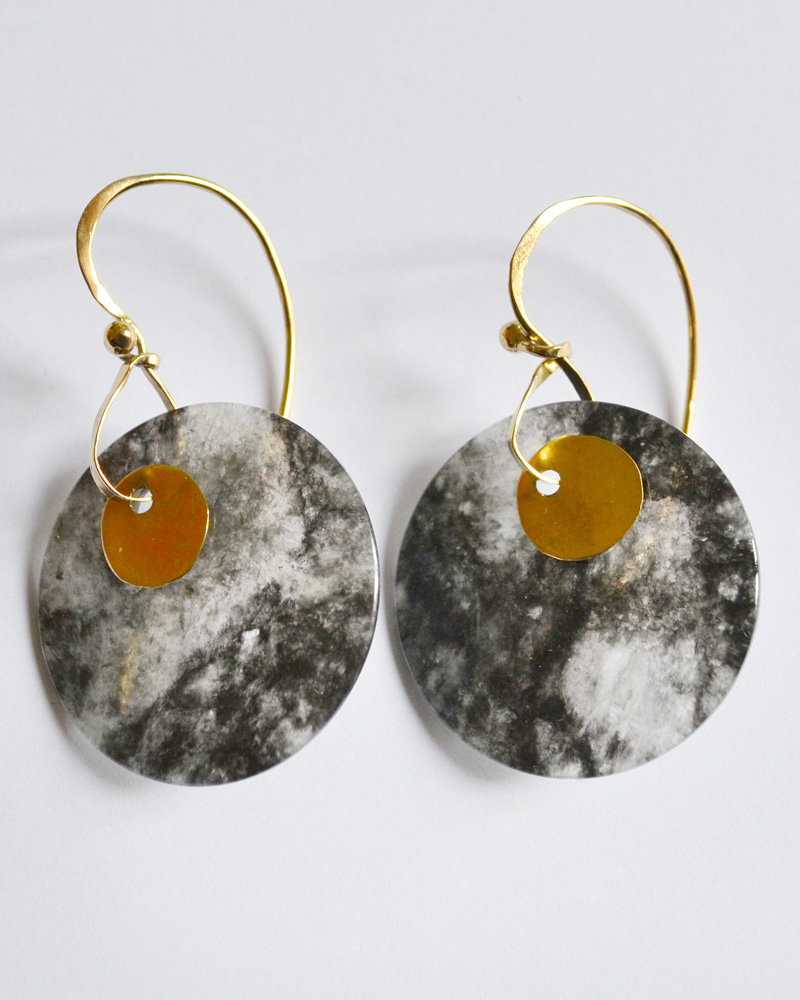 Earrings in gold and jade