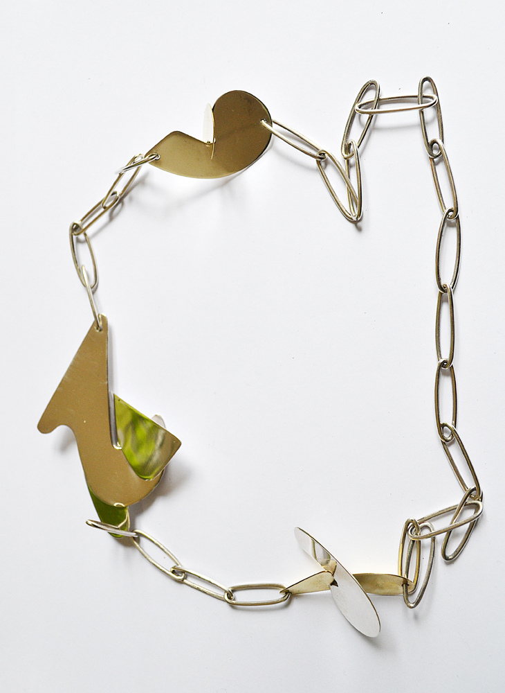 Necklace in silver and bronze